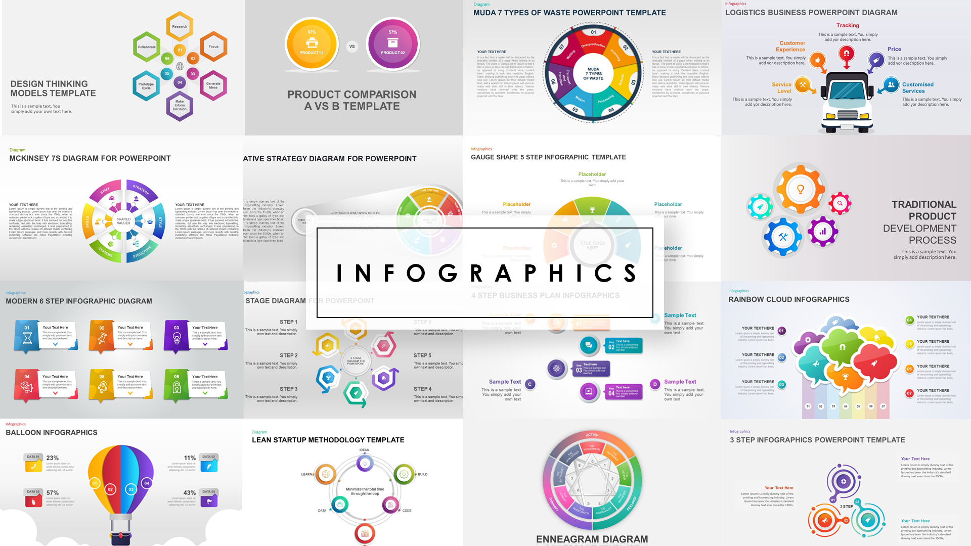 collage of infographic template for Powerpoint