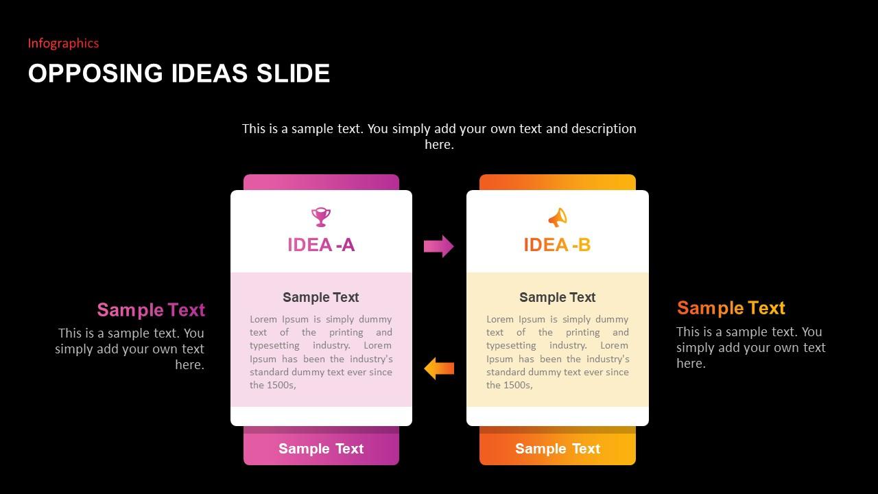 Opposing Ideas Slides Template dark