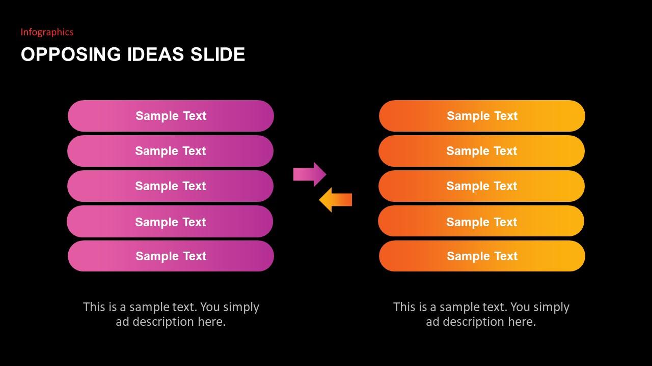 infographics for opposing ideas slide-dark