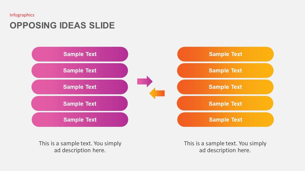 infographics for opposing ideas slide